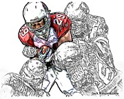 Arizona Cardinals Chester Taylor Seattle Seahawks David Hawthorne Clinton Mcdonald And Red Bryant Print by Jack K