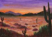 Sunset Drawings - Arizona Desert by Anastasiya Malakhova