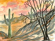 Mens Drawings Prints - Arizona Evening Southwestern landscape painting poster print  Print by Derek Mccrea