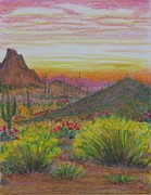 Cactus Pastels - Arizona Prepares for Dusk by Collin Edler