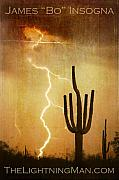 Southwest Landscape Metal Prints - Arizona Sagauro Lightning Strike Poster Print Metal Print by James Bo Insogna