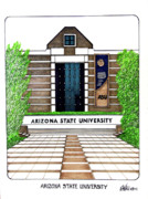 Pac-10 Universities Drawings Mixed Media - Arizona State West Campus by Frederic Kohli