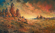 Desert Landscape Paintings - Arizona Sunset by Andrew King
