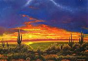 Southwest Landscape Pastels Metal Prints - Arizona Sunset Metal Print by Howard Searchfield
