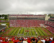 Calling The Hogs Metal Prints - Arkansas Marching Band forms U-of-A at Razorback Stadium Metal Print by Replay Photos