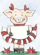 Cheer Painting Posters - Arkansas Razorback Cheer Piggy Poster by Annie Laurie