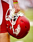 Ncaa Prints - Arkansas Razorback Helmet Print by Replay Photos