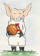 Children Print Painting Originals - Arkansas Razorbacks - Basketball Piggie by Annie Laurie