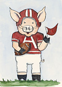 Football Art Posters - Arkansas Razorbacks - Football Piggie Poster by Annie Laurie