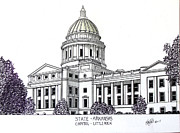 Arkansas Mixed Media Prints - Arkansas State Capitol Print by Frederic Kohli
