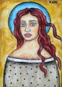 Christian Art . Devotional Art Painting Prints - Arlene Print by Rain Ririn