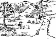 Country Cottage Drawings Prints - Arlennes IDYLLIC FARM Print by Daniel Hagerman