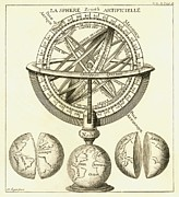 French Text Posters - Armillary Sphere, 18th Century Artwork Poster by Detlev Van Ravenswaay