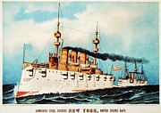 Navy Drawings Posters - Armored Steel Cruiser New York Poster by Pg Reproductions