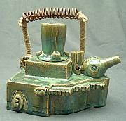 Glazed Pottery Ceramics - Armoured Teapot  by Donald Burroughs