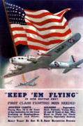 American Flag Digital Art Prints - Army Air Corps Recruiting Poster Print by War Is Hell Store