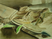 Brown Boots Painting Originals - Army Boots by Charles Roy Smith