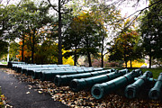Autumn Photos Prints - Army Cannons in a Row Print by Army Athletics