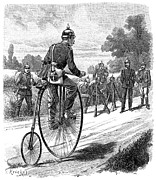 Penny Farthing Framed Prints - ARMY MESSENGER, 1890s Framed Print by Granger