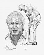 Celebrity Portrait Drawings Posters - Arnold Palmer Poster by Murphy Elliott