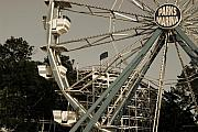 Amusement Parks Posters - Arnolds Park Ferris Wheel Poster by Gary Gunderson