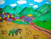 Haybales Painting Prints - Aromatic Harvest Print by Sandy Wager