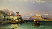 Maggiore Paintings - Arona and the Castle of Angera Lake Maggiore by George Edwards Hering