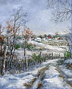 Snowfall Paintings - Around the Bend SOLD by Virginia Potter