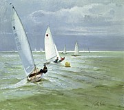 Dinghy Posters - Around the Buoy Poster by Timothy Easton