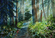Fir Trees Painting Prints - Around The Path Print by Kerri Ligatich