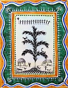 Indian Tribal Art Paintings - Around the tree by Anjali Vaidya