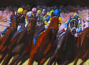 Horse Racing Paintings - Around the Turn They Come by Thomas Michael Meddaugh