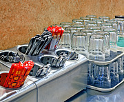 Cafeteria Photo Prints - Arranged Glasses and Silverware Print by David Buffington