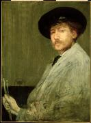 Abbott Prints - Arrangement in Grey - Portrait of the Painter Print by James Abbott McNeill Whistler