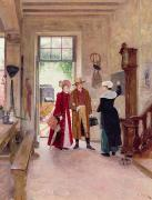 Hall Paintings - Arrival at the Inn by Charles Edouard Delort