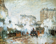 Steam Train Paintings - Arrival of a Train by Claude Monet