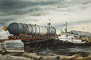Pacific Northwest Fine Art Print Painting Originals - Arrival of Reactor Vessels by James Williamson
