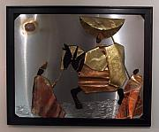 African Reliefs - arrival of the Oba by Jeff  Williams