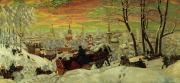 Snowfall Painting Framed Prints - Arriving for the Holidays Framed Print by Boris Mihajlovic Kustodiev