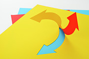 Colored Paper Prints - Arrow Made ??of Paper Print by Yagi Studio
