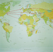 Cartography Photos - Arrows On Map Of World, Connecting Different Cities by Walter B. McKenzie