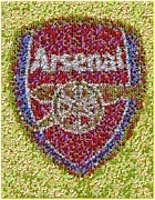 Arsenal Football Posters - Arsenal Soccer Ball Mosaic Poster by Paul Van Scott