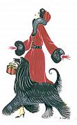 Afghan Hound Paintings - Art Deco Lady - Ruby by Di Kaye