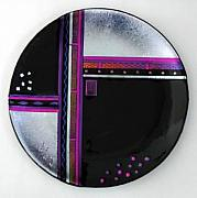 Purple Glass Art - Art Deco Silver by Nancy Bonig