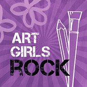 Purple Flowers Mixed Media Posters - Art Girls Rock Poster by Linda Woods