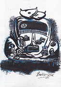 Volkswagen Pastels Prints - Art-Haus-Ink Print by Sharon Poulton