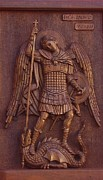 Unique Art Reliefs Posters - Art Icon of St. Archangel Michael Poster by Goran