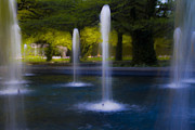 Chicago Fountain Prints - Art Institute Garden Scene Print by Sven Brogren