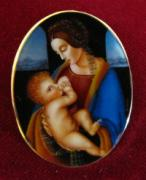 Hand Painted Jewelry - Art Jewelry-hand Painted Pendant And Brooch Mother Of Pearl Gold 18k Madonna Litta Leonardo Da Vinci by Evelina Pastilati