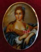 Hand Painted Jewelry - Art Jewelry-hand Painted Pendant And Brooch Mother Of Pearl Gold 18kt Portrait Of A Lady by Evelina Pastilati